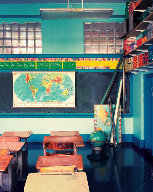 Interior shot of a classroom in an old school