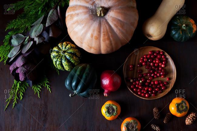 Still life of harvest vegetables
