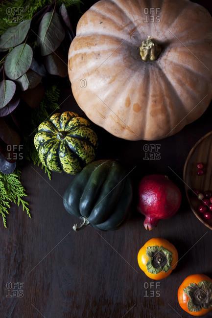 Still life of harvest vegetables.