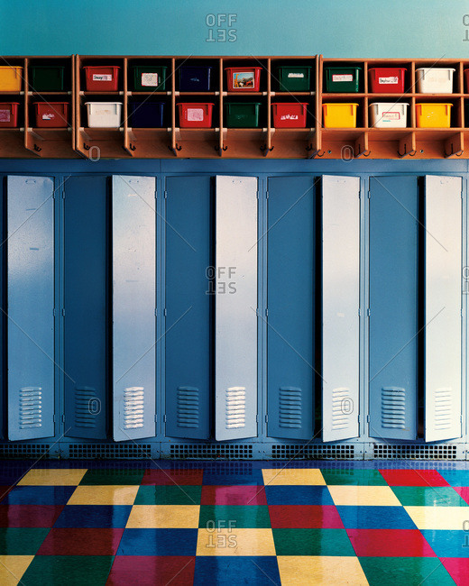 Lockers in a classroom in an old school