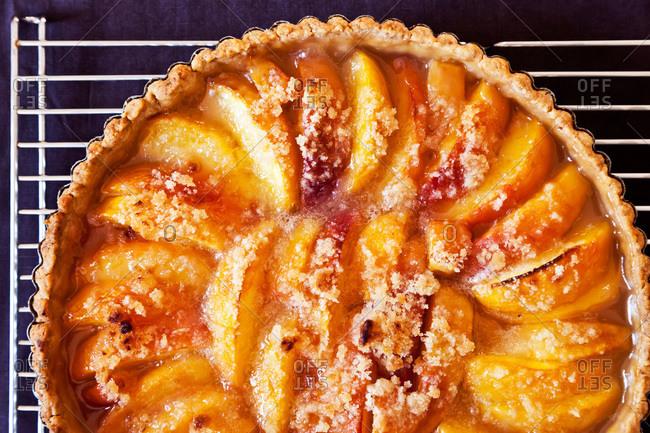 Close up of peach tart