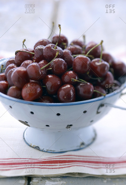 Pile of cherries in light blue enamel colander on kitchen cloth with red stripe