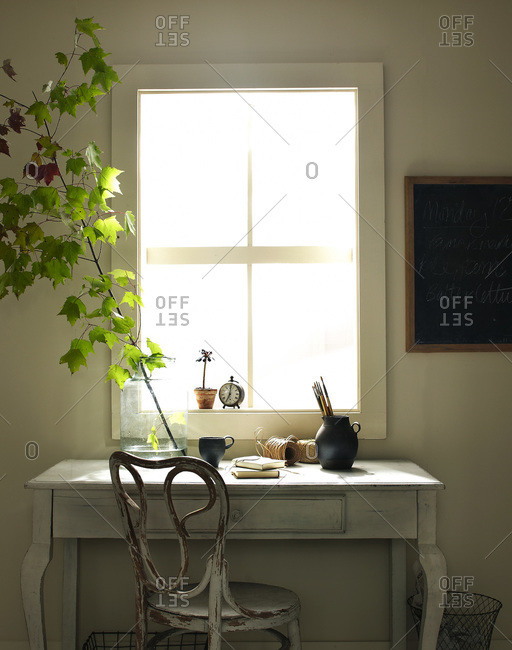 Desk with branch in interior