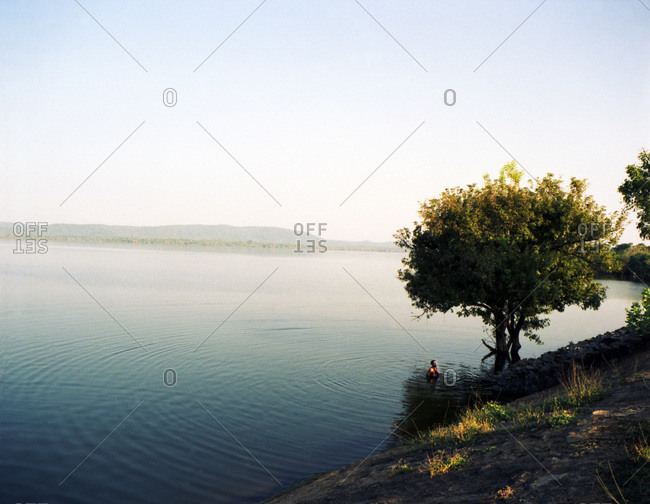 Man bathing in lake by lone tree.  Water rippling out from him