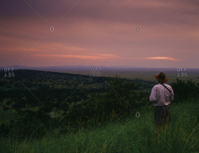 Man stands in tall grass at sunset looking over the Serengeti Plains