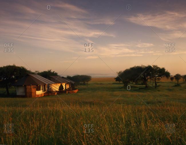 Tents at dawn at the Sabora tent camp on the Serengeti Plains