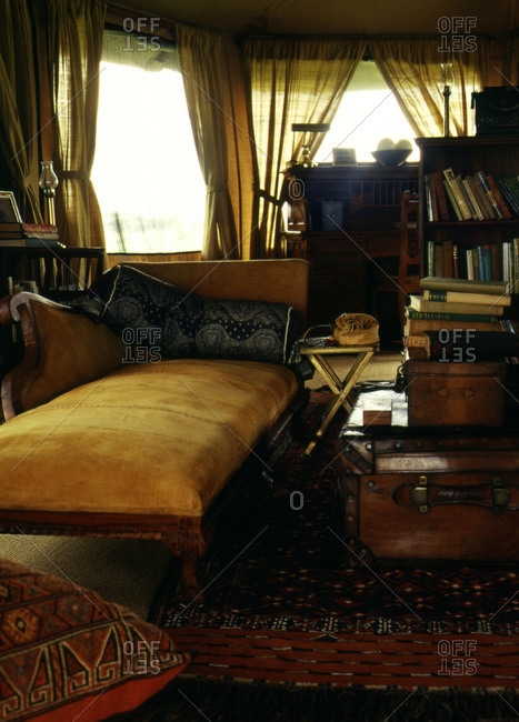 Tanzanian Golden chaise in exotic room