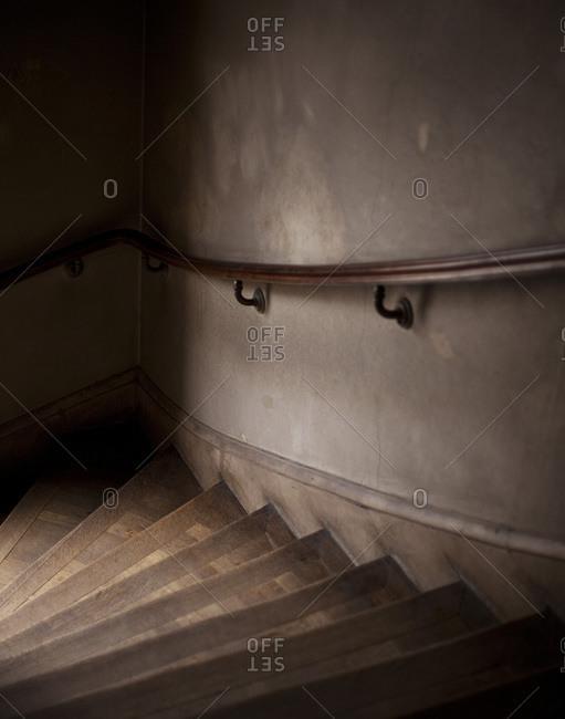 Darkened empty staircase