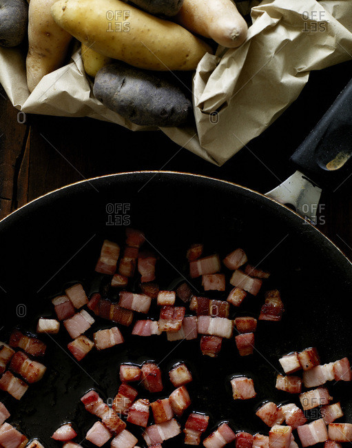 Bacon and raw potatoes from above