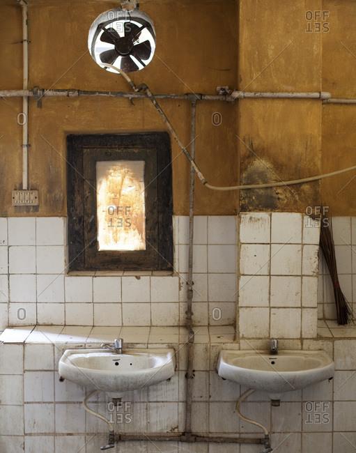 A moldy restroom