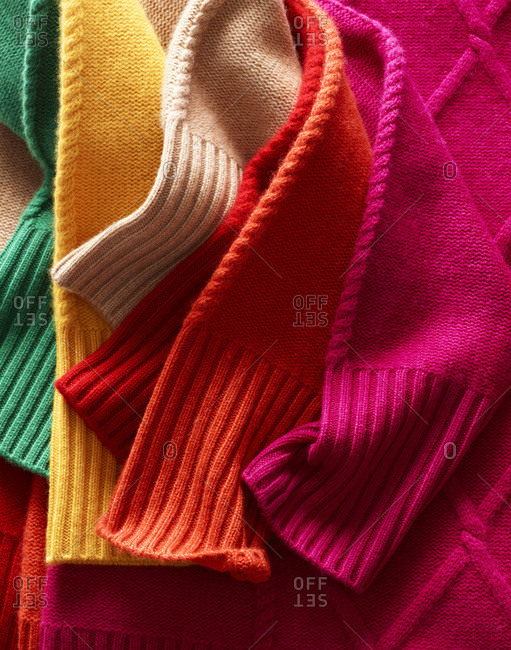 Colorful sleeves of cashmere sweaters