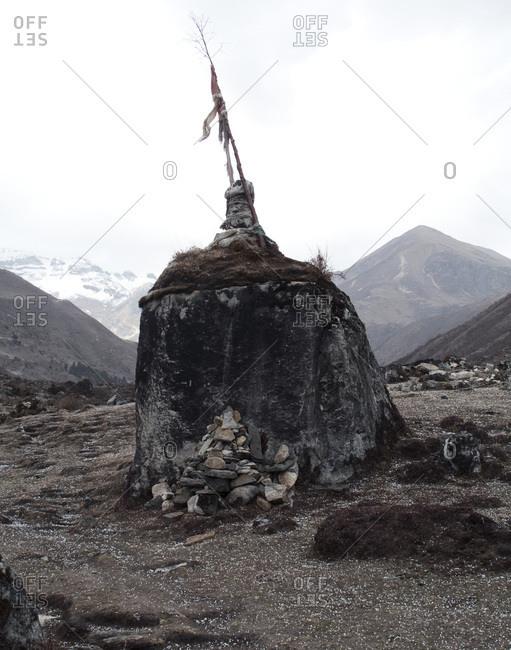 A freestanding stupa in the mountains, Bhutan