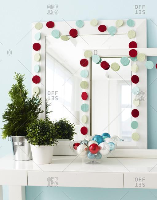 Christmas ornaments and hanging garland