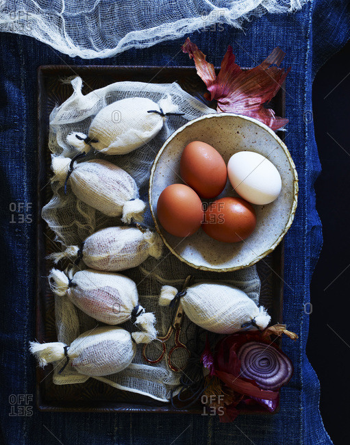 One by one wrapped eggs for Easter decoration