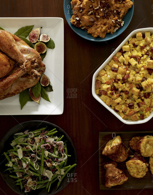 Different kind of dishes for Thanksgiving party