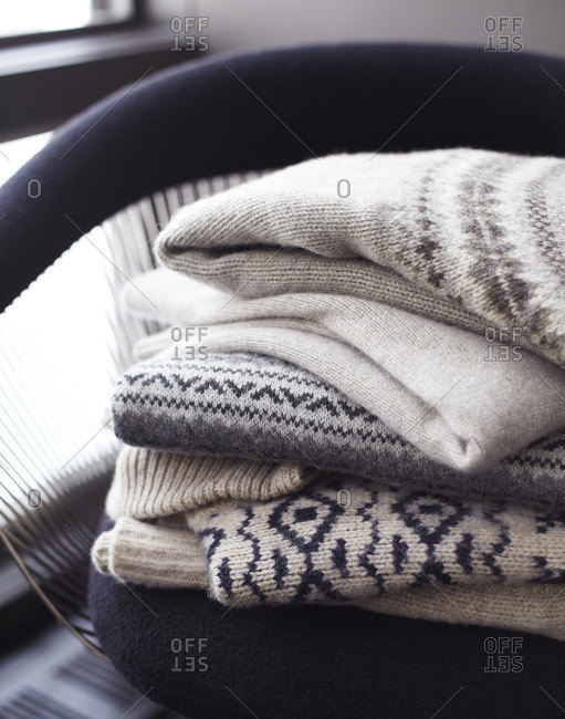 Pile of norwegian style sweaters