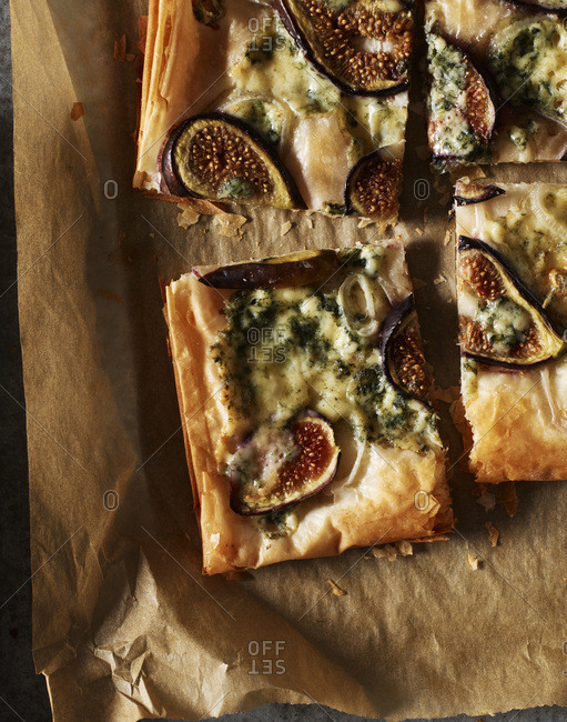 Delicious fig tart pieces from above.