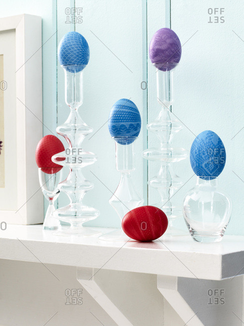 Colorful easter eggs on a mantle