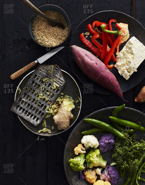 Colorful vegetables and raw ingredients for fried rice