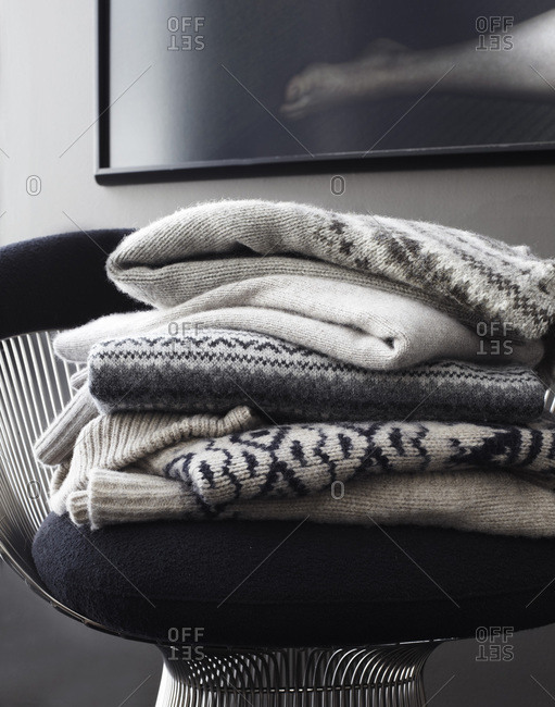 Stack of grey sweaters