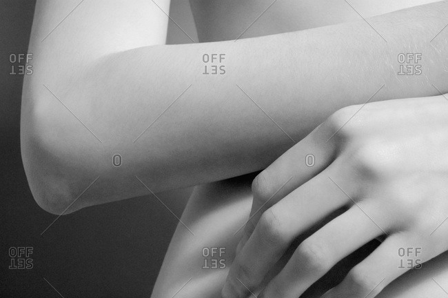 Close-up of woman's arm and hand