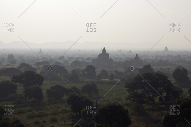 View of temples of Bagan, Burma spreading out across the landscape