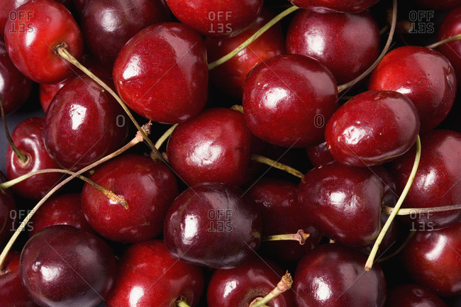 A group of cherries, close-up