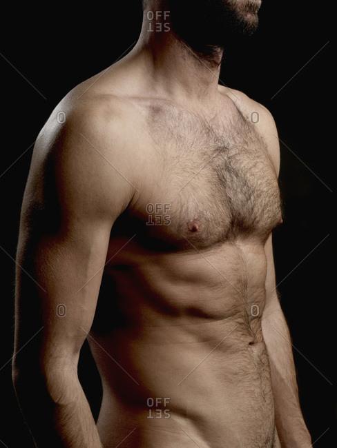 Torso of a shirtless man