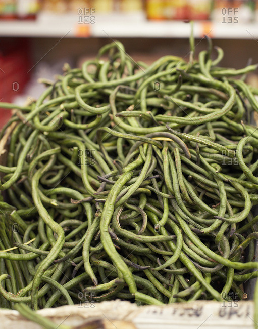 Stack of raw green beans