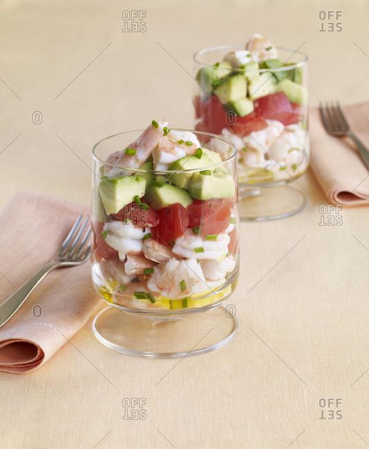 Fresh shrimp cocktail in glasses.