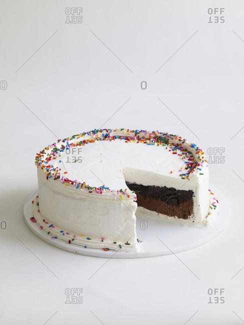 Delicious chocolate cake with white cream.