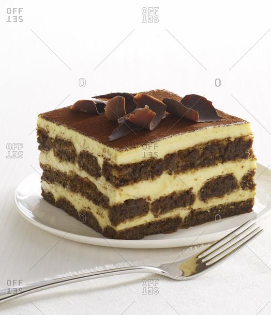 Tempting tiramisu cake on the plate.