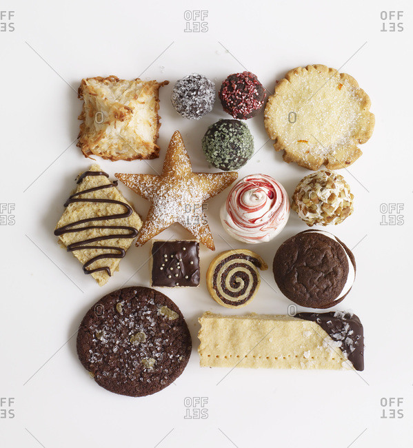 Set of different christmas cookies.
