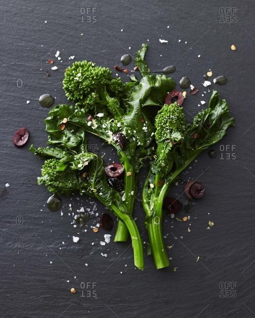 Broccoli Rabe with Black Olives and Lemon Zest.