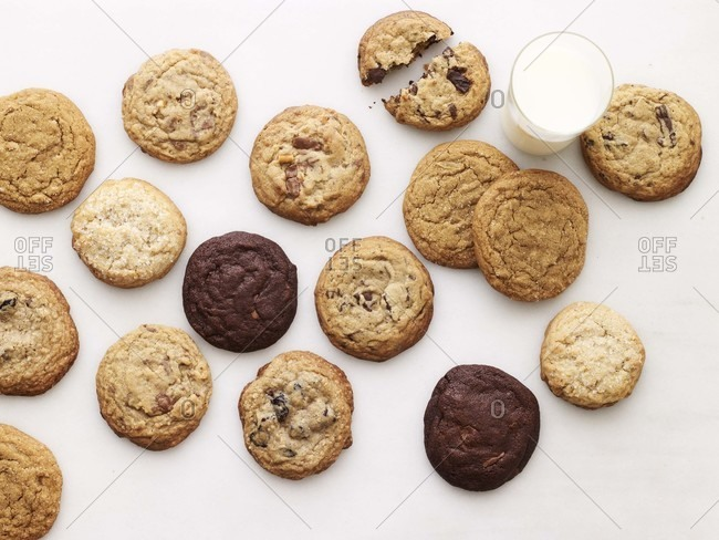 Several kind of cookies on a white surface