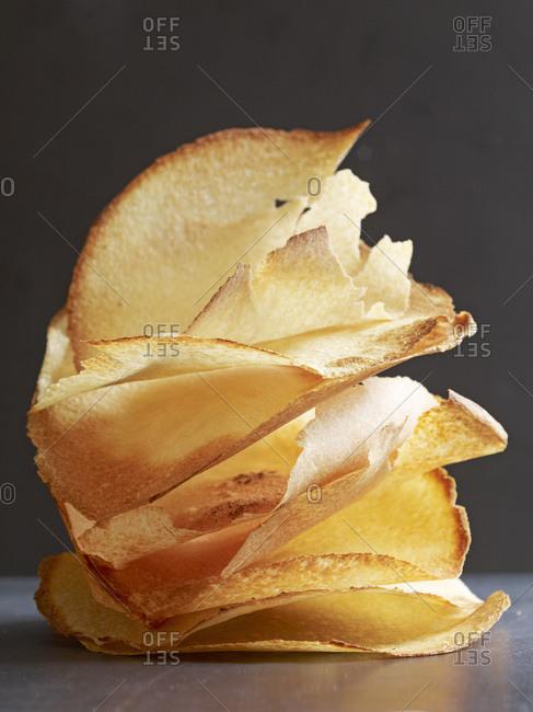 Golden brown, crunchy potato chips.