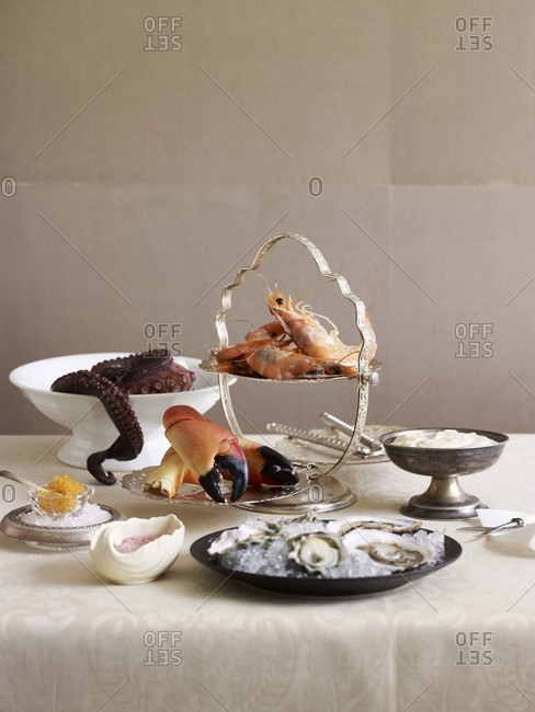 Seafood spread on a table