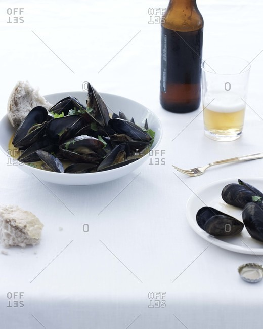 Steamed mussels and beer