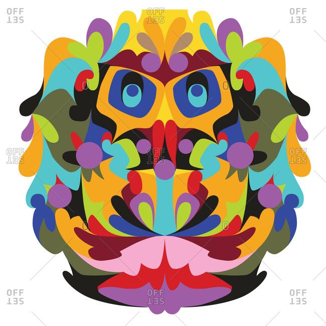 Colorful mask resembling a supercentenarian human