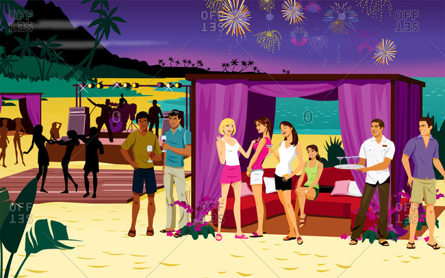 Firework beach party with people by beach tents