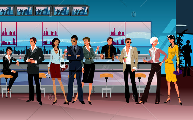 Happy hour networking of people in business dress
