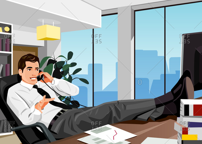 Professional man on phone in his office lounging with his feet on his desk