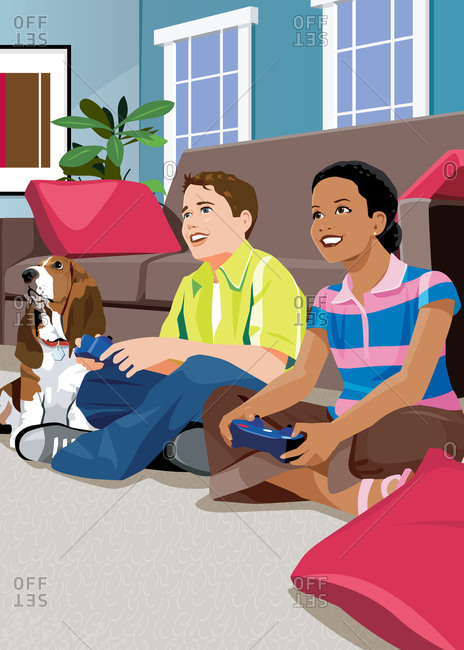 Kids on floor playing video games next to basset hound