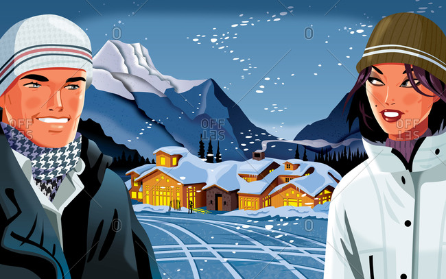 Young man and woman looking at each other with ski lodge in mountain in background