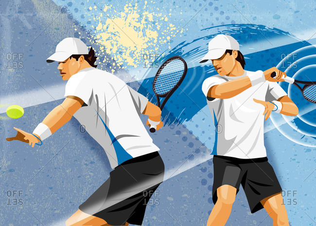 Graphic tennis image of male hitting tennis ball with splashes of art in background