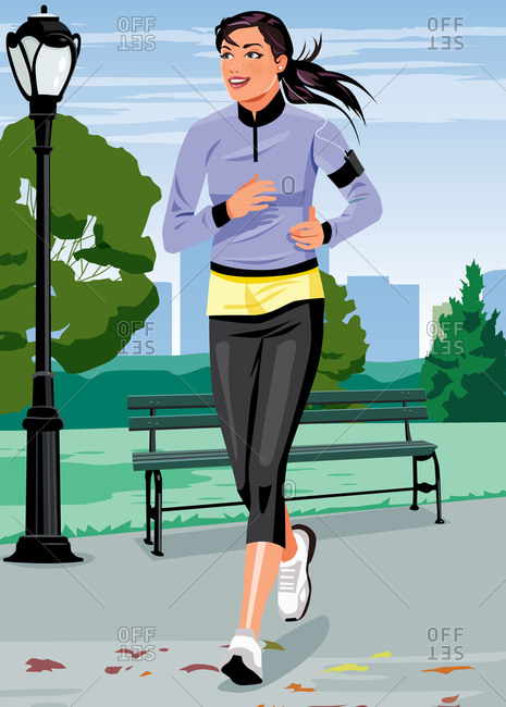 Woman in athletic dress out jogging in park