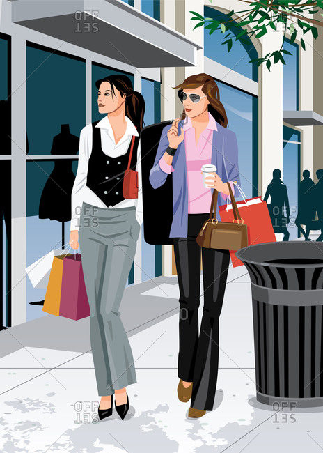 Two women out shopping looking at store fronts