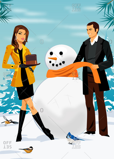 Woman and man outside wrapping scarf and putting hat on snowman