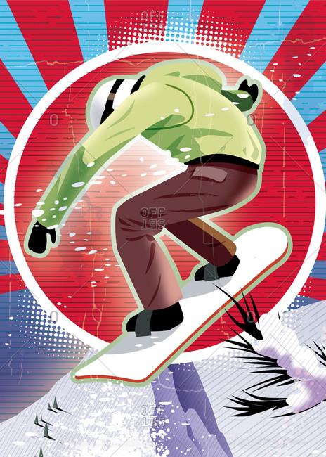 Graphic snowboarder red sunburst