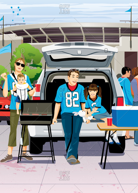Family tailgating with grill and cooler out of the back of SUV in front of stadium